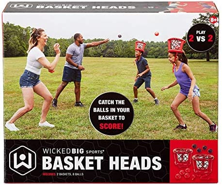 Wicked Big Sports Inflatable Basket Heads , Funny Basketball or Toss Game for Outdoor or Indoor Play , Red