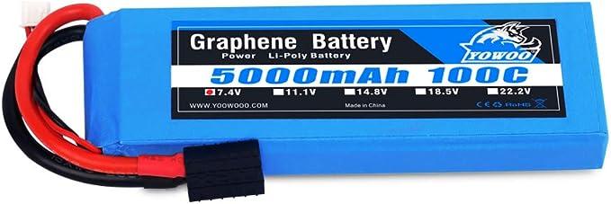 Yowoo Graphene Lipo - Batería (5000 mAh, 100 C), 7.4V 5000mah ...