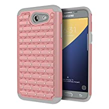 Galaxy J3 Emerge Case, Asstar [Shockproof] Heavy Duty Dual Layers Impact Protection Rugged Hard Back Bling Shell Anti-Slip Protective Case for Samsung Galaxy J3 Emerge / Galaxy J3 (2017) (Rose gold 1)