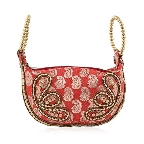 Shop LC Delivering Joy Coral Golden Paisley Pattern Embroidery Beaded Potli Fortune Cookie Bag 6.5X
