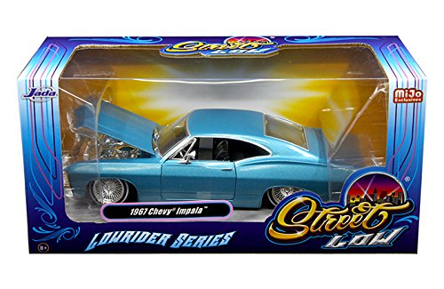 (NEW 1:24 W/B JADA TOYS MiJo EXCLUSIVES COLLECTION - STREET LOW: LOWRIDER SERIES - BLUE 1967 CHEVROLET IMPALA Diecast Model Car By Jada)