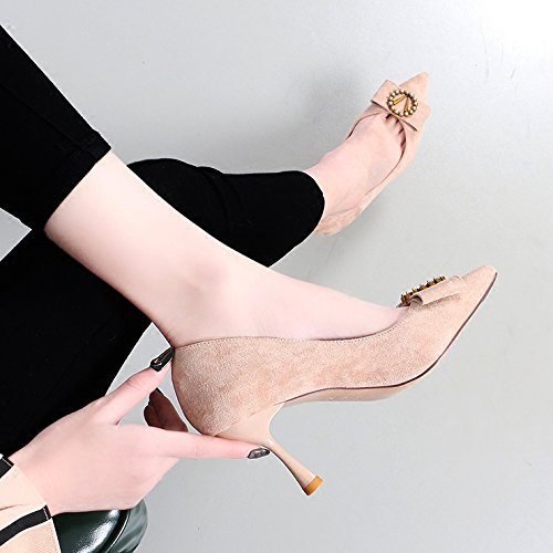 Shoes Fine With High Tip KPHY 5Cm Single Light Wild Tie With Cat Shoes Beige Women'S Metal 7 Round Tie Shoes Bow Heeled qTRqS