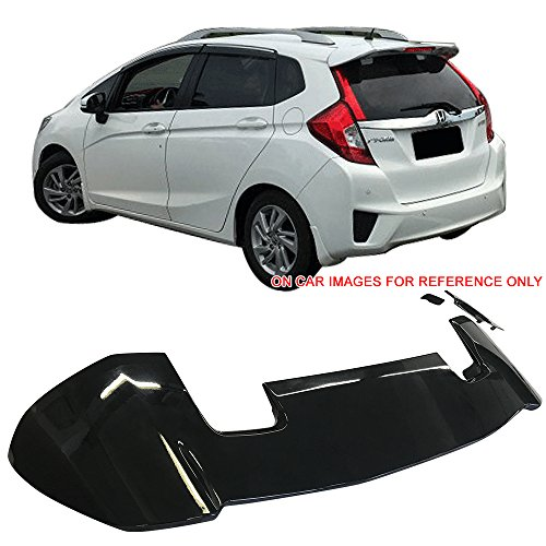Jazz Rear Brake - Pre-Painted Roof Spoiler Fits 2015-2018 Honda Fit | RS Style Painted #NH731P Crystal Black Pearl ABS Rear Wind Visor Spoiler Wing LED Brake Light Other Color Available By IKON MOTORSPORTS | 2016 2017