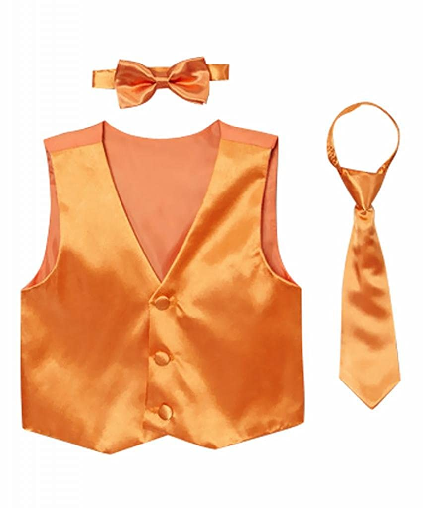 Classykidzshop Solid Orange Vest with Bow Tie and Long Tie CKS5737