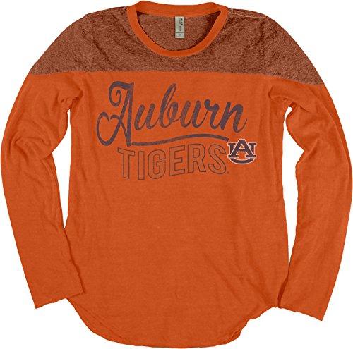 NCAA Auburn Tigers Adult Women NCAA Women's Dyed Long Sleeve Yoke Tee,Small,Orange