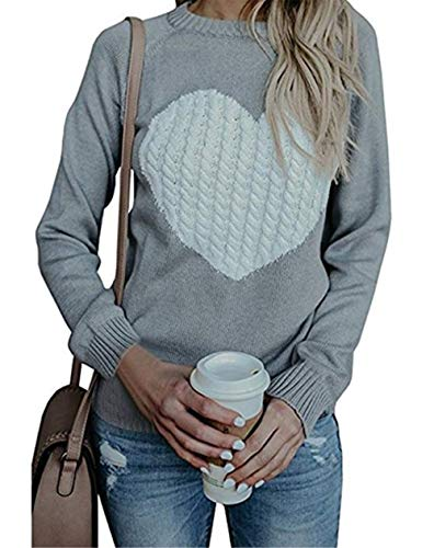 Damen Pullover Strick Winter Rundhals Langarm Loose Mode Freizeit Warmer Sweater Sweatshirt Oberteile