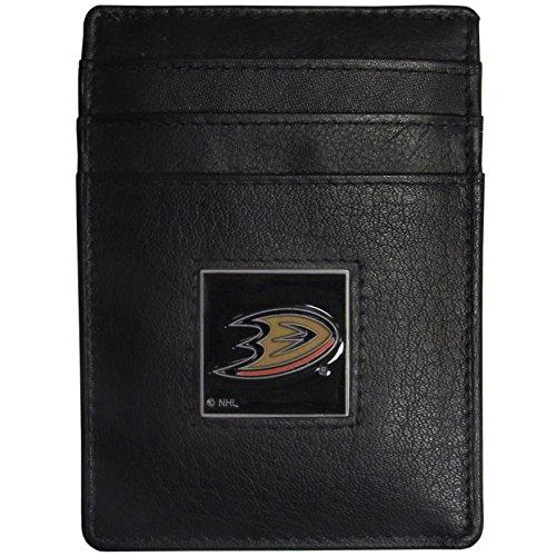 NHL Anaheim Ducks Leather Money Clip/Cardholder Packaged in Gift Box, Black