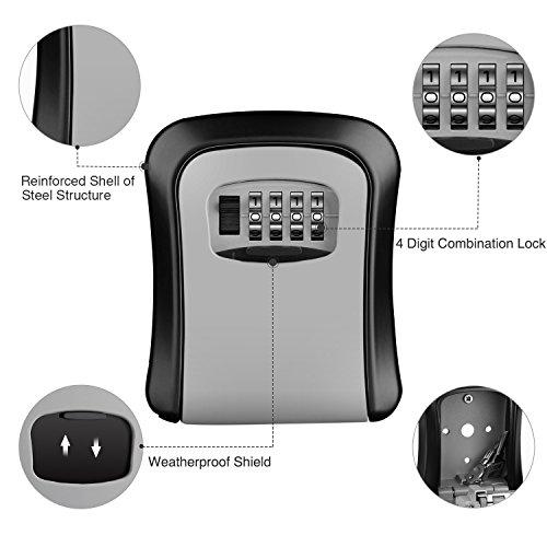 AUTSCA Key Lock Box Wall Mounted Stainless Steel Key Safe Box Weatherproof 4 Digit Combination Key...