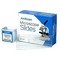 AmScope BS-50P-100S-22 Portaobjetos de microscopio de vidrio con borde de tierra en blanco pre-limpiado y tapa de vidrio cuadrada pre-limpiada de 100pc Deslizadores Cubreobjetos
