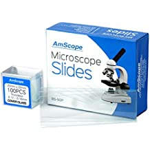 AmScope BS-50P-100S-22 Pre-Cleaned Blank Ground Edge Glass Microscope Slides and 100pc Pre-Cleaned Square Glass Cover Slips Coverslips