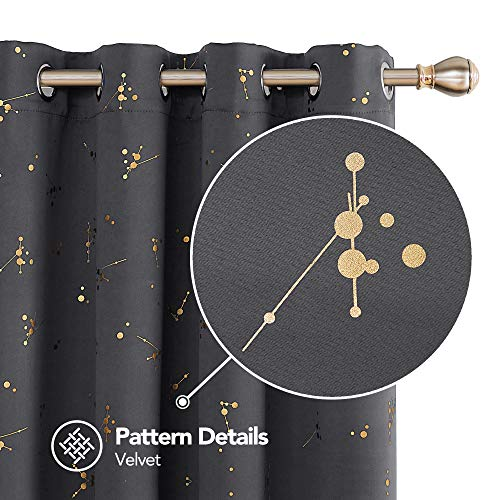 Deconovo Dark Grey Blackout Curtain Foil Printed Constellation Pattern Curtains Grommet Light Blocking Window Drapes for Living Room 1 Pair 52 x 84 inch
