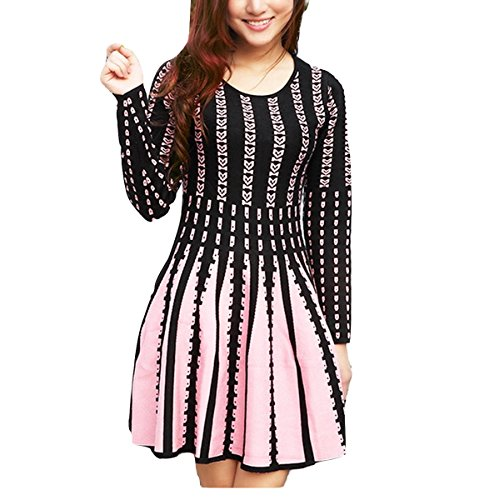 celebritystyle Pink Fit and Flare Ponte Knit Pleated 3/4 Slv Dress 30
