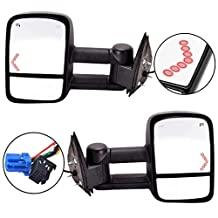 Scitoo Pair Power Towing Side View Mirrors Heated Signal Replacement for Chevy GMC Pickup Truck Driver Passenger GM1320355 GM1321355
