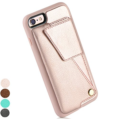 Holder Case, ZVEdeng iPhone 6 Plus Wallet Case for Women, Durable Shockproof iPhone 6S Plus Case with Credit Card Slot Holder for iPhone 6 Plus / 6s Plus (5.5inch) - Rose Gold ()
