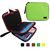 Khanka Portable Organizer Double Compartment Carry Travel Case Bag For Apple Ipad Mini 16G,Samsung Tab 4 (7-Inch),External Hard Drive,USB Cable,Power Bank,Passport Boarding Pass Ticket (L-Green)