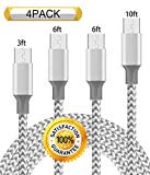 Chamfind Micro USB Cable 4Pack 3FT 6FT 6FT 10FT 5000+ Bend Lifespan Premium Nylon Braided Micro USB Charging Cable Samsung Charger Cord for Samsung Galaxy S7 Edge/S7/S6/S4,Note 5/4/3 -Grey White
