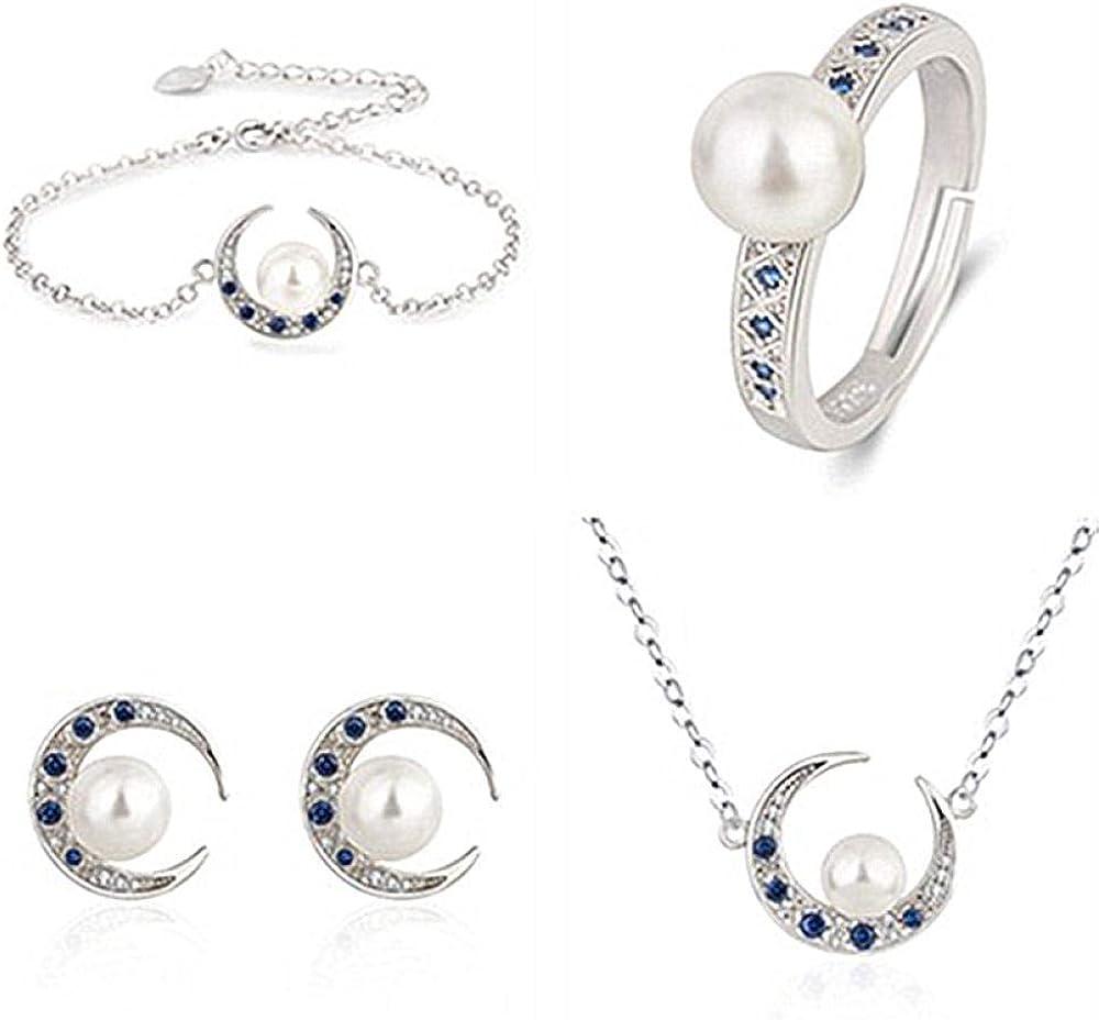 WWJJTT Conjunto de Media Luna de Perla Blanca Natural 925 Pulsera de espinela Azul Anillo Collar Pendientes Conjunto de 4 Piezas Parejas