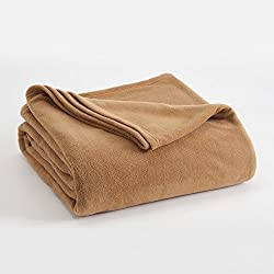 FLEECE BLANKET BY VELLUX - Full/Queen, Microfiber, Polar fleece, Lightweight, Warm, Soft - Brown