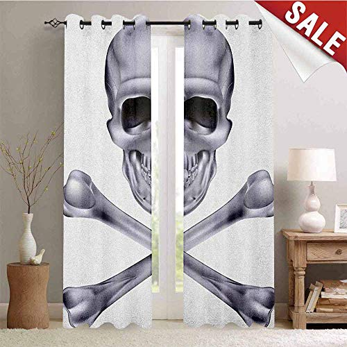 Grey, Drapes for Living Room, Vivid Skull and Crossed Bones Dangerous Scary Dead Skeleton Evil Face Halloween Theme, Window Curtain Fabric, W84 x L96 Inch Dimgray -