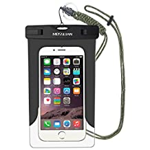 Waterproof Case: MOSSLIAN Universal Waterproof Bag Dry Case Pouch for iPhone 7, 6S, 6, 6 Plus, 5S, 5C, 4S, HUAWEI Mate 9,Mate 8,P9 upto 6 inch Smartphones(Black (W/O band))