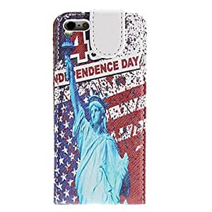 ZCL Statue of Liberty Pattern PU Leather Case for iPhone 5/5S