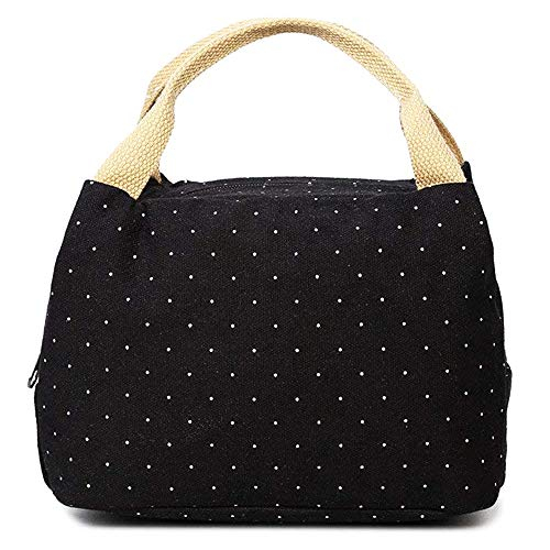 Lunch Bag, Compact Canvas Lunch Tote Box Bag with Polka Dot for Women Men Adults, Black