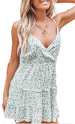 POGTMM Women Summer Casual Sleeveless Deep V Neck Printed Swing Boho Mini A Line Dress (Green,S)