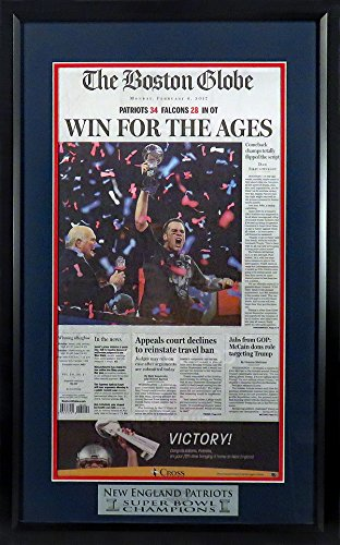 "New England Patriots ""Super Bowl LI Champions"" Boston Globe Newspaper Display Feat. Tom Brady Framed"