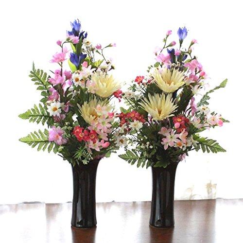 山久 ガーベラ と リリー の仏様の花束一対 花器付セット クリーム 1107-0604k-c CT触媒加工 シルクフラワー 造花 B01LANWZA8