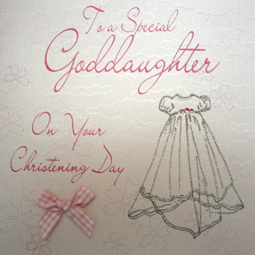 white cotton cards WB185 Christening Gown To a Special Goddaughter on Your Christening Handmade Christening Card, White