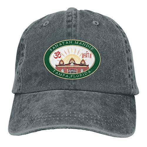 Sanatan Mandir Tampa Florida Sun Hats Fashion Adjustable Dad Cap Trucker Hats Plain Baseball Caps for Men Women Deep Heather