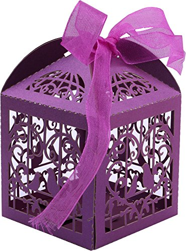 DriewWedding 50PCS Wedding Bridal Favor Gift Candy Boxes Case, Bird Style Hollow Wrap Boxs Bag Bomboniere with Ribbon Party Table Decor Kit Treat Box Chocolate Candy Wrappers Holders (Purple)