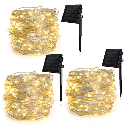 Heepow Solar String Lights Pack 3 (200LED 8 Modes 72ft), 3-Strand Copper Wire Lights Auto On/Off Indoor/Outdoor String Lights for Christmas Halloween Carnival Party Decorations (Warm White)