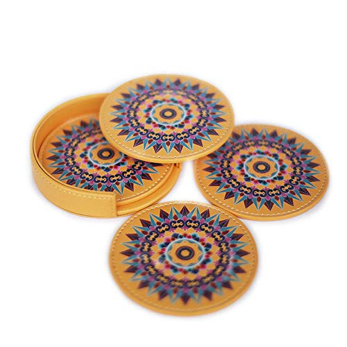 (Leather Coaster Oxcart Wheel (Yellow) Set of 4 with Holder Protects Furniture from Water Spills, Wine, Coffee)