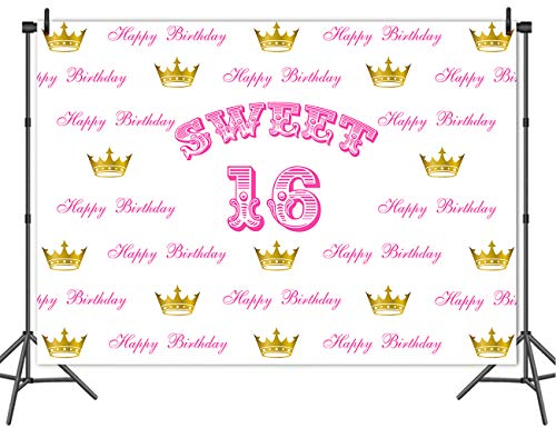 Mehofoto Sweet 16 Backdrop Gold Crown Step and Repeat Photography Background 7x5ft Vinyl Girl's Sweet 16th Birthday Party Decoration Backdrops Banner
