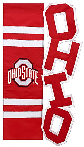 Ohio State University Sculpted Letters Applique House Flag