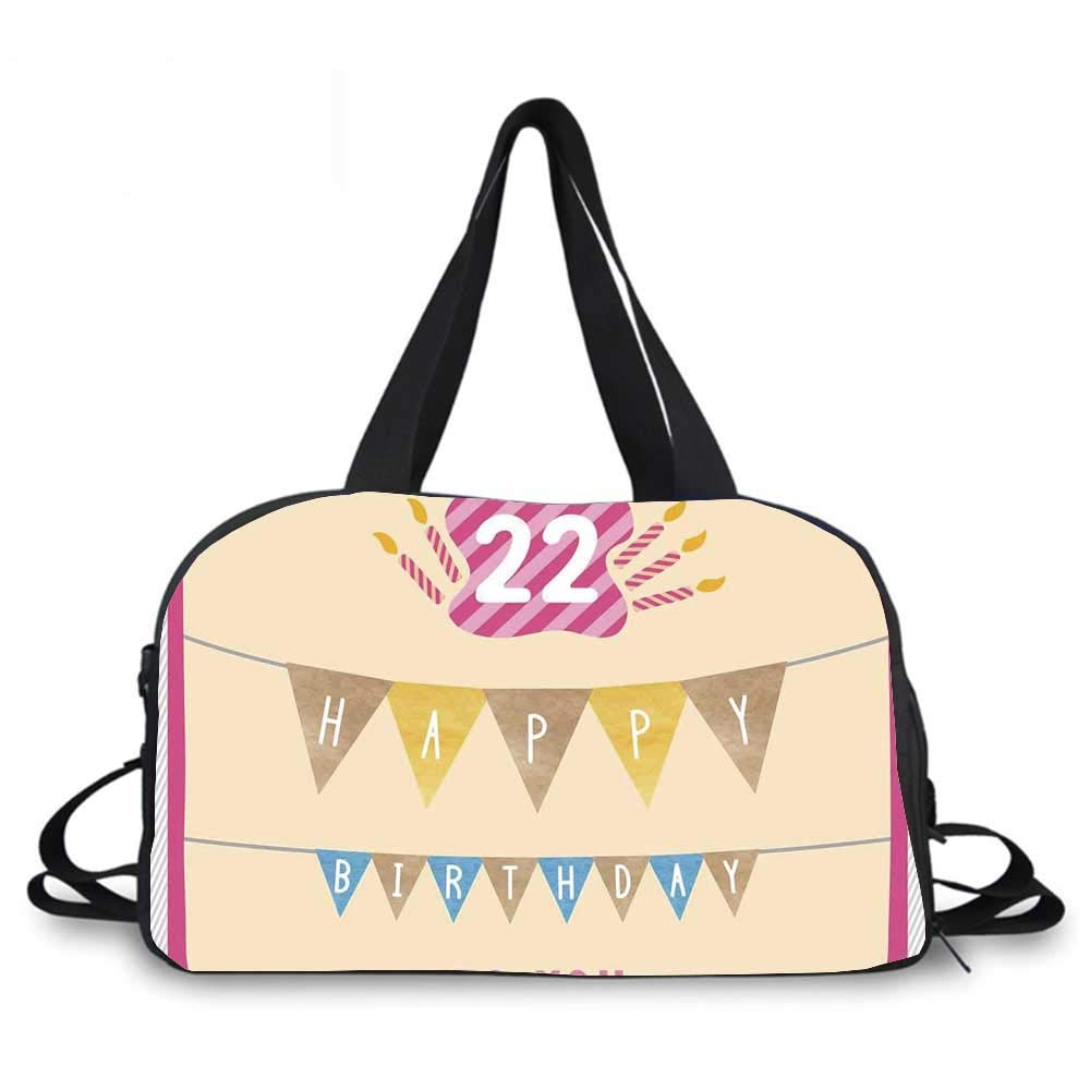 22nd Birthday Decorations Personality Travel Bag,Happy Birthday to You with Candies Cake Candles Cute Print for Travel Airport,One_Size