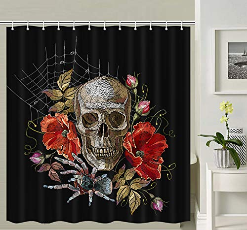 NYMB Gothic Embroidery Skull and Flowers Shower Curtain Halloween, Embroidery Skull and Roses Humming Bird and Flowers Art Day of Dead Bathroom Curtains, Fabric Shower Curtain 12PCS Hooks, 69X70IN