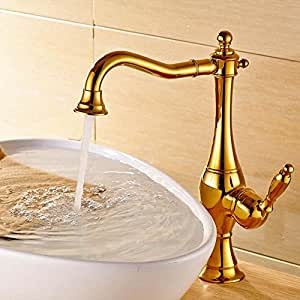 Blyc brass chrome plated gold silver chrome hot and cold single handle lavatory faucet gold for Gold and chrome bathroom faucets