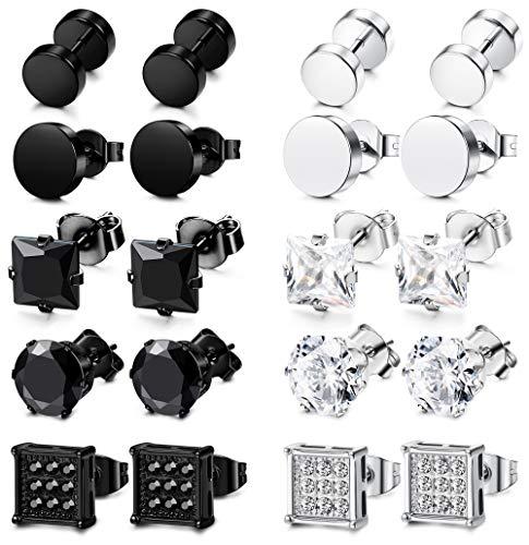 FIBO STEEL 10 Pairs cz earrings for men Women Ear Piercing Ear Plugs Tunnel Ear Piercing Earrings Cubic Zirconia Inlaid 8mm