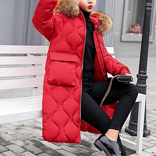 Femme Taille Rouge de Coton Capuche Duvet avec Manteau Grande Longue HANMAX Chaud en Fourrure Hiver Coton Doudoune de OaAgwqTI