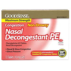 GoodSense Nasal Decongestant Phenylephrine HCl 10 mg tablets, 72-count