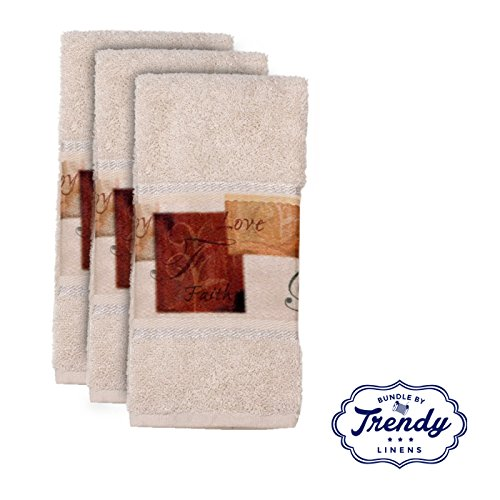 Tranquility Finger Tip Towels - Bathroom Shower Collection - Set of 3 Washcloths - Exclusive Towel Set by Trendy Linens by Saturday Knight Limited