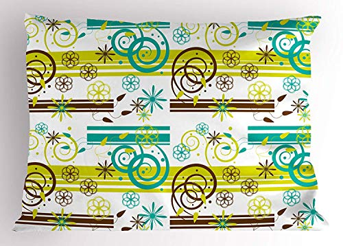 (Floral Pillow Sham, Cute Spring Curved Branches Leaves Flowers Greenland Inspirations Theme, Decorative Standard Queen Size Printed Pillowcase, 30 X 20 inches, Apple Green Teal Brown)