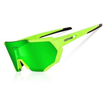 035e228be8 Queshark Gafas De Sol Polarizadas para Ciclismo con 3 Lentes  Intercambiables UV400 MTB Bicicleta Montaña (Verde): Amazon.es: Deportes y aire  libre