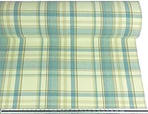 Aspecto Y Tacto De Lana A Cuadros Azul Crema tapicería de tela Material A4muestra