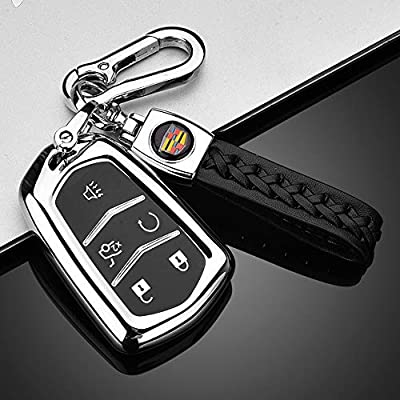 121Fruit Way Key Fob Cover for Cadillac, Key Fob Case for 2015-2020 Cadillac Escalade CTS SRX XT5 ATS STS CT6 5-Buttons Premium Soft TPU 360 Degree Full Protection Silver: Automotive