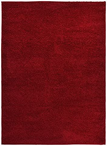 SOHO Shaggy Collection Solid Color Shag Area Rug Rugs 7 Color Options (Red, 2 x 3) - Red Shag Carpet