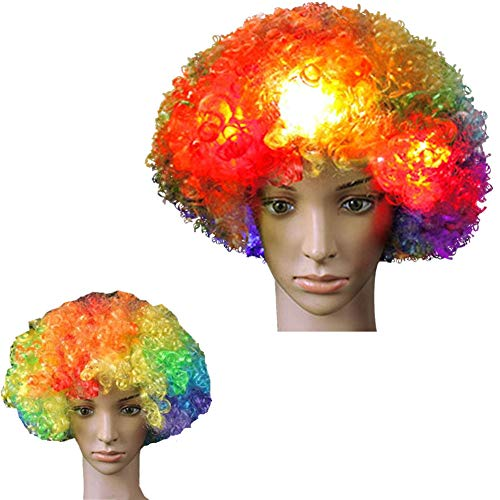 LED Cosplay Flashing Wig Short Curls Hair Wave Head Cute Multi-Color Glowing Costume Funny Clown Clothing Make up Carnival Concert Masquerade World Soccer Cup Realistic Headgear Christmas(Pack of 1)]()