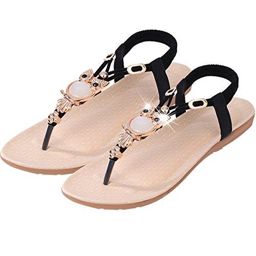 Aksautoparts Mujeres Summer Bohemia Beach Con Tira En T Bohemia Con Cuentas Owl Flat Sandals Black